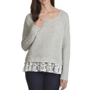 89th & Madison Gray Sweatshirt with Lace Trim